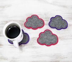 Neşeli Keçe Bulut Bardak Altlıklar -4 adet Zet.com'da 30 TL
