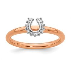 Sterling Silver Stackable Expressions Pink-Plated Diamond. Horseshoe Ring / Style:QSK1978-10