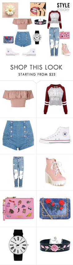 """""""Spring"""" by fashion-babygirl-101 on Polyvore featuring beauty, Miss Selfridge, WithChic, Pierre Balmain, Converse, Topshop, Moschino, Boohoo and Rosendahl"""