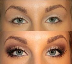1.    Eye pencil Don't try to highlight your entire eye with eye pencil – the effect will be the opposite. Instead, draw a line on your upper eyelid only, making in thicker on the outer corner of your eye. 2.    Eyeshadow Use lighter shades, like olive green, pale pink, and light gray. Eyeshadow with