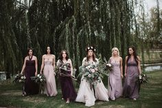 Each bridesmaid chose a style they loved in a shade of purple | Image by a sea of love