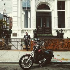 So my cab stopped in a red light and I saw this #guy #smoking in front of a #cool #building by his #motorcycle. I saw the #picture in my mind and started taking #photos. He looked at me right in the #eyes I thought he was gonna to kick my ass but instead he just smiled and waved. I wish he could see how cool he looks in my picture. . . . #nyc #newyork #photography #photooftheday  #motorcycles #bikestagram #bike #cc #bike #streetbike #cruising #instagood #style #art #menstyle