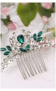 Wedding Headband, Hair Comb Wedding, Wedding Hair Pieces, Bridal Hairdo, Wedding Bands, I Love Jewelry, Hair Jewelry, Jewellery, Emerald Green Hair