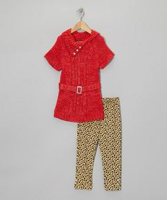 Take a look at this Red Belted Tunic & Leopard Leggings - Infant & Girls by 2B Real on #zulily today!