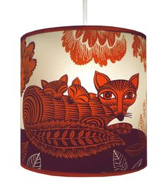 Fox And Cubs Red Stor Lampskärm - Lush Design - Tapetorama Design Store
