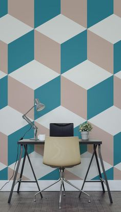Major desk envy with this funky geometric wallpaper design. Home offices don't have to be boring, create an accent wall for an energetic feel to your interiors. Wallpaper for the wall design and ideas Geometric Wallpaper Design, Geometric Wall Paint, Geometric Decor, Geometric Shapes, Geometric Wallpaper Living Room, Geometric Painting, Geometric Patterns, Geometric Designs, Creative Wall Painting