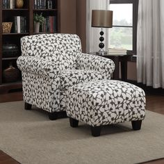 Portfolio Mira Gray Modern Floral Arm Chair and Ottoman | Overstock.com Shopping - The Best Deals on Living Room Chairs