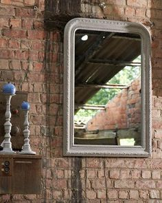 A classically styled large over-mantle mirror with a grey-white frame, good proportions and elegant detailing featuring a leaf motif. Mantle, Grey And White, Decor, Mantle Mirror, Classic Gifts, Mirror With Hooks, Contemporary Mirror, Mirror, Classic House