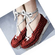 Vintage Crochet Pattern 1940s Wedgie Shoes Ballet Slipper Crocheted Sandal PDF. 2.50, via Etsy.