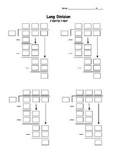 Need a way to start long division? Is it too challenging for your students to write all the steps of long division at first? Now you have an easier way to walk them through the steps. This template will provide a way for students to fill in the boxes to help them get on the right track for long division.