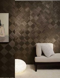 The Ajiro Diamond wallpaper is made of micro-thin pieces of Paulownia wood, a sustainable hardwood. Using it on the walls will create a warm textural interest in the room inspired by nature.