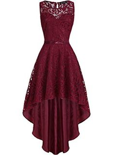 OWIN Women's Retro Lace High-Low Formal Homecoming Prom Party Evening Cocktail Bridesmaid Dress (M, Wine Red) Pretty Prom Dresses, Hoco Dresses, Dresses For Teens, Elegant Dresses, Pretty Outfits, Homecoming Dresses, Cute Dresses, Beautiful Dresses, Dress Outfits