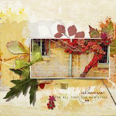 Basic: Collage 3 Paper Mini digital scrapbooking layout  #fall #scrapbooking