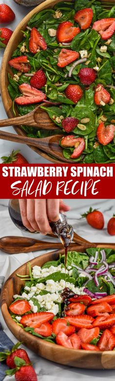 This Strawberry Spinach salad with it's balsamic poppyseed dressing is the perfect easy side dish for a picnic or BBQ, or just a weeknight meal! The Best Strawberry Spinach Salad Winter Salad Recipes, Italian Salad Recipes, Shrimp Salad Recipes, Spinach Salad Recipes, Best Salad Recipes, Healthy Recipes, Aloo Recipes, Easy Recipes, Spinach Strawberry Salad