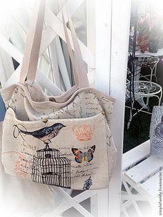 """Купить Двусторонняя текстильная эко-сумка """"птица и клетка"""" - эко сумка, двусторонняя сумка, very nice Handmade Bags, Gym Bag, Diaper Bag, Totes, Give It To Me, Tote Bag, Fashion, Moda, Handmade Handbags"""