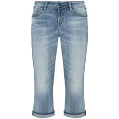 Silver Jeans Light-Blue Plus Size Suki cropped jeans ($185) ❤ liked on Polyvore featuring jeans, plus size, silver jeans, ripped blue jeans, plus size distressed jeans, cropped jeans and straight-leg jeans