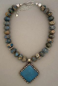 women/'s fashion Tibetan pendant silver Choker blue glass bib necklace ethnic turquoise Pearl Jewelry ceramic cabochon