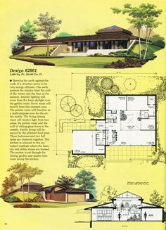 United States, Design 82861 This house is partially underground due to berms on three sides. There is a wall of glass along the kitchen and living/dining room, and all three bedrooms overlook. Vintage House Plans, Modern House Plans, House Floor Plans, Futuristic Architecture, Architecture Design, Sims House, Home Design Plans, Mid Century House, Mid Century Modern Design