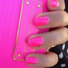 Neon Pink Marc Jacobs Inspired Nails