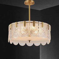 Yaojun A Chandelier A Chandelier Full Copper Crystal Chandelier Golden LED Ceiling Lamp Warm Light Luxury Modern Minimalist Home Decoration Living Room Bedroom 60 × 60 × 23cm A Chandelier