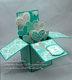 3D Card in a box wedding using Fresh Prints paper stack and Eastern Elegance DSP. Stampset is I (Heart) Hearts sadly retired and Label Love - colours are Coastal Cabana, Bermuda Bay, White and Silver www.facebook.com/NicoleWilsonStampinUp   http://nicolejuliewilson.blogspot.com.au/