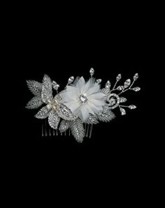 Silk Flower and Rhinestone Comb. I want for my short hair now.