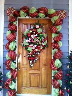 christma decor, front doors, door decor, ribbon mesh, mesh ribbon