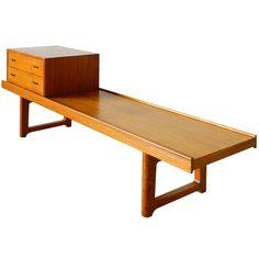 Torbjorn Afdal Teak Bruksbo Bench with Drawers