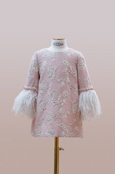 #handmade #embroidery. #couture #hautecouture #kids #dress #luxury #exclusive #limited #highfashion #fashion #Bibiona #pink #ostrichfeathers