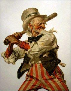 Vintage Ilustration ~ Uncle Sam and Baseball