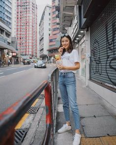 Jeans, at Asos UK - Wheretoget Korean Casual Outfits, Basic Outfits, Edgy Outfits, Simple Outfits, Fashion Outfits, Mode Ulzzang, Discount Womens Clothing, Japan Outfit, How To Pose