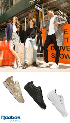 6562fb69168 The Reebok Classic X Sandro collection features gold Classic Leather shoes  for women and the Club C men s sneaker in black   white.
