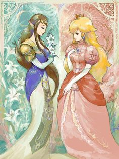The perfect pair of princesses, but sadly seprated by Ganondwarf and Bowser.