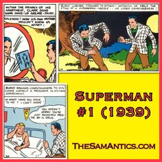 Superman #1 (1939). Well that's one way to make sure the person doesn't get in your way.