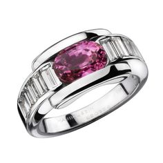 Alessandra ring, by Mauboussin. White gold, diamond tappers and pink sapphire.