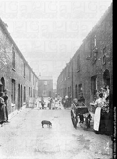 Cat's meat man on a slum street, London, 1900s. The man can be seen on the right, with a cat between the wheels of his barrow. A line of children halfway down the street appear to be staring back at the photographer. HERE IS THE 'ER' BUILDING AGAIN