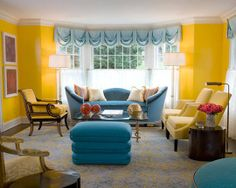 Bright yellow walls, blue accents