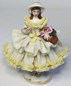 Exceptional Miniature Dresden German Lady w Basket Lace Figurine Franz Sieber | eBay
