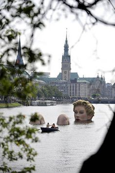 """Die Badende"" (The Bather) was created by artist Oliver Voss. Hamburg, Germany."