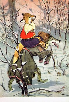 USSR - CIRCA 1968: Reproduction of antique postcard shows Illustration to the Russian fairy tale The Wolf and the fox, circa 1968 — Photo by igorgolovniov