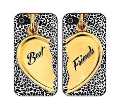 Black and Leopard Best Friends Heart Set of Two Iphone Case