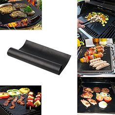 BBQ Grill Mat Durable Non-Stick Heat Resistant Black Baking Grill Barbecue Sheet Liner Mat Use on Gas Charcoal Electric Grills BBQ Grilling Meat Veggies Seafood Eggs 40*60cm/16*24 Inches