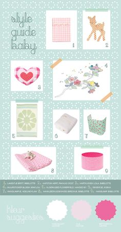 Styleguide for a sweet nursery. Bibelotte collection Blossom