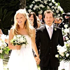 "Celebrity Wedding: Malin Akerman & Roberto Zincone. Malin wore Amsale's ""Madeline"" dress"