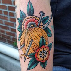 Knitting Tattoo by Sky James