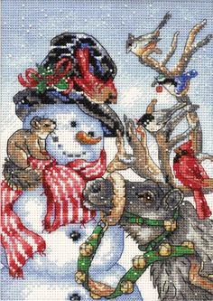 Make a beautiful festive cross stitch present for a dear one, using the Dimensions Gold Collection Petite Snowman and Reindeer Counted Cross Stitch Kit 5 x This counted cross stitch kit is a great Snowman Cross Stitch Pattern, Cross Stitch Love, Cross Stitch Needles, Counted Cross Stitch Patterns, Cross Stitch Charts, Cross Stitch Designs, Cross Stitch Embroidery, Clipart Noel, Bordado Tipo Chicken Scratch