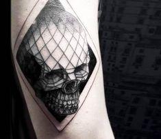Geometric Skull tattoo by Serena Caponera
