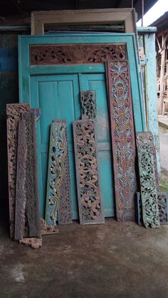 Indonesian Antique Carved Door panels - ethnic style!  These teak panels make beautiful architectural accents.