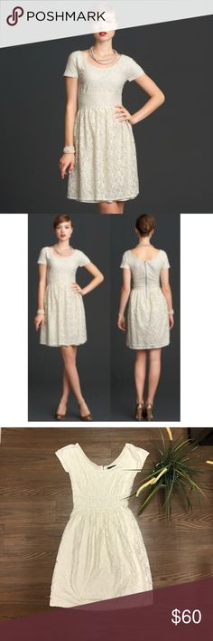 📽MAD MEN COLLECTION DRESS by Banana Republic📽 Designed exclusively in collaboration with Mad Men® costume designer Janie Bryant This collection is inspired by the razor-sharp tailoring and feminine silhouettes of 1960s style. A gorgeous cream color lace dress with a slight gold metallic sheen Cap sleeves. Boat neckline. Back zip. Fully lined. 62% Cotton, 38% Nylon. Hand wash cold. Length 34 inches flat, bust 15 and just flat Banana Republic Dresses Midi