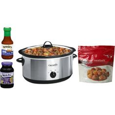 Easy crock pot meatballs: 1 bag frozen meatballs, 1 jar each- BBQ sauce and grape jelly. Cook on high for 3 hours or low for 6. YUM